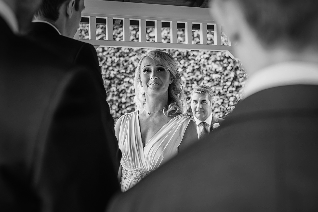 bride crying during wedding vows