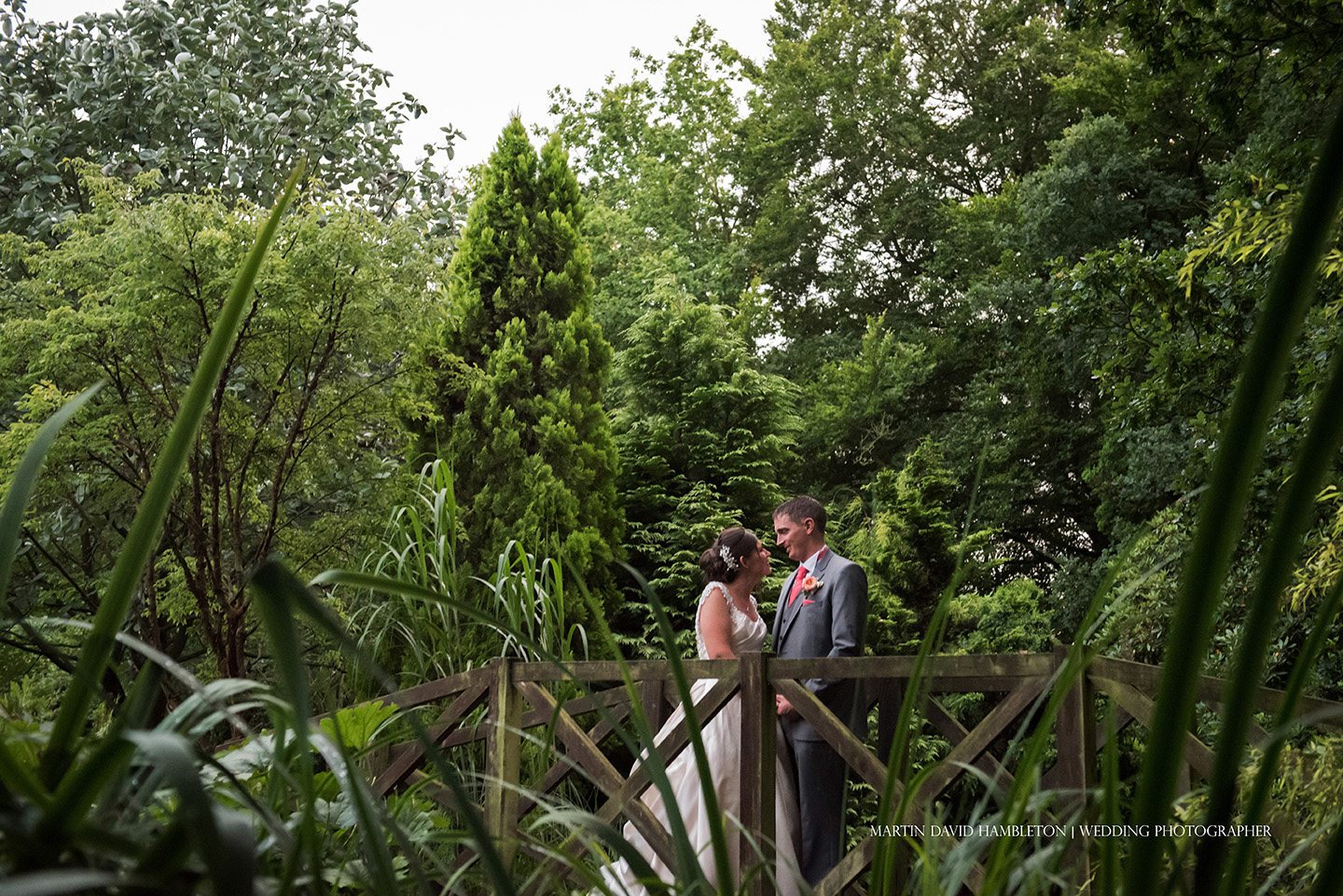 bride and groom portrait in grounds of nunsmere hall